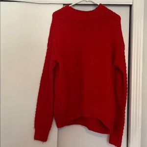 Oversized red knit sweater
